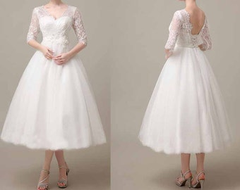 50shouse_ 50s inspired retro feel lace top Tulle tea length wedding dress with flower sash_ custom make