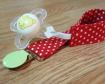 Universal pacifier clip- pacifier holder, red polka dot, baby shower gift, diaper bag, baby girl, gender neutral, MAM nuk soothie gumdrop