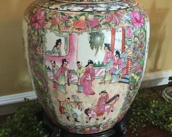 Antique  Famille Chinese Export Large Rose Medalion Asian Ginger Jar Pot 1800's