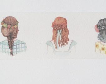 Design Washi tape girl hairstyles braids fashion
