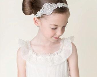 Flower girl headband, crystal headband, rhinestone headband, silver headband, Ivory lace headband, bling headpiece, baby girl headband
