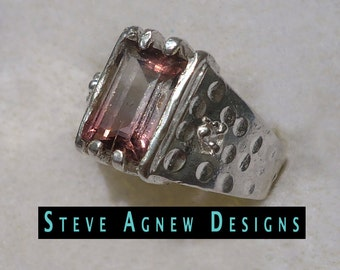 Watermelon Tourmaline Ring with Zircon Accents