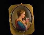 Antique Victorian German Porcelain Hand Painted Lady With Dove Plaque
