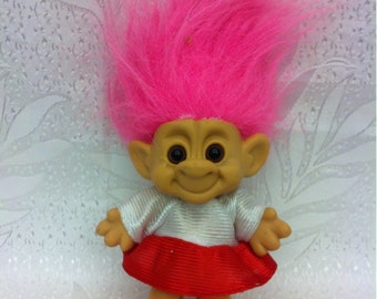 Troll Doll . Forest Plastic Troll Doll with Pink Hair and Dress