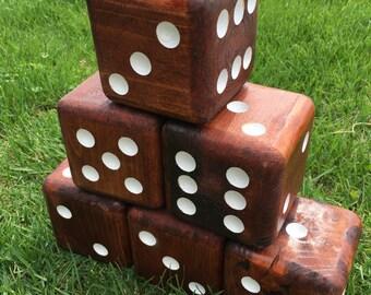 Six handmade wooden dice, Giant Yard Dice, Outdoor Yard-Zee Family Game, Farkle Game