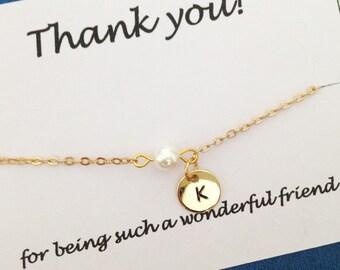 Bff bracelet - gold bracelet - pearl bracelet - initial bracelet - bff bracelet - mom gift-  friendship - best friend