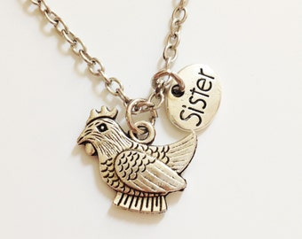 Chicken necklace - sister necklace - animal necklace - friendship necklace - birthday gift - Christmas