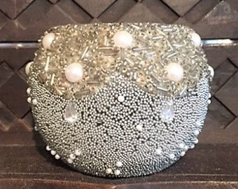 Luxurious pearl beaded glass votive