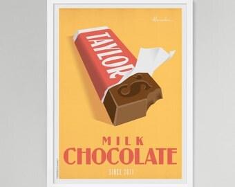 Chocolate Bar Personalized Baby/Kids Art (Medium)