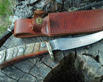 Custom USA Schrade 160OT Rams Horn Handle Knife