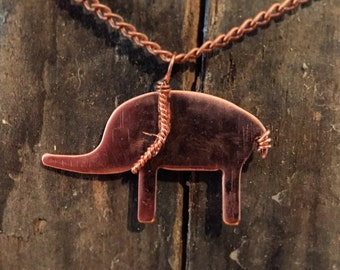 Copper Elephant Pendant With Twisted Copper Harness