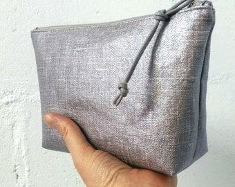 Large silver oilcloth makeup bag | cosmetic bag| makeup bag | beauty accessories | makeup bags | cosmetic case | oilcloth accessories