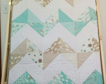 Teal and Brown Chevron Baby quilt made from Moda Storybook Fabric
