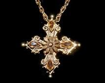 Florenza Maltese cross necklace/brooch pin, rhinestone Maltese cross pendant brooch signed Florenza