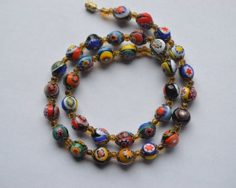 Venetian murano millefiori glass beaded necklace