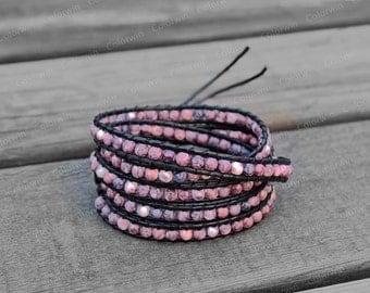 5 Wraps Leather Bracelet Rain Flower Gemstone Wrap Bracelet Charm Bracelet 4mm Beaded Bracelet with Black Leather Cord