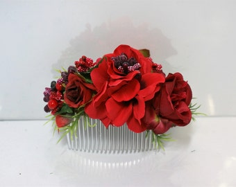 Red Butgundy flower comb Bridal flower comb Floral comb Wedding flower comb  Bridal hair accessories Flower comb