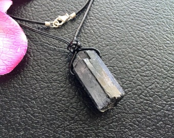 Unisex Raw Natural Chunky Black Tourmaline Pillar Wand Pendant with Black Leather Cord Necklace