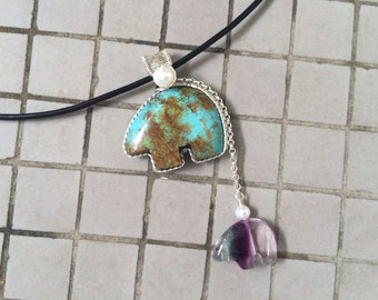 Sterling Silver Wire Wrapped Vintage Chinese Turquoise & Fluorite Bear Pendant with Black Leather Cord Necklace, Mother and Child Necklace