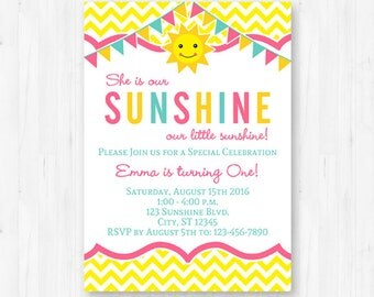You Are My Sunshine Invitation - Printable Sunshine First Birthday Party Invitation - Instant Download with Editable Text
