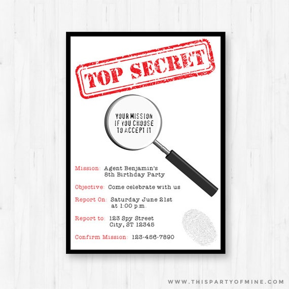 It's just a graphic of Refreshing Spy Party Invitations Printable Free