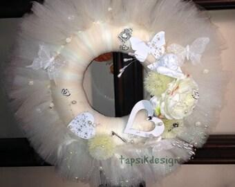 Wedding Tulle Wreath, Romantic Wreath, Wedding Decoration, All season Wreath, Mothers Day Wreath, Mothers Day Gift, Home Decor, Wall Decor