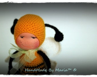 Waldorf baby bee doll 7""