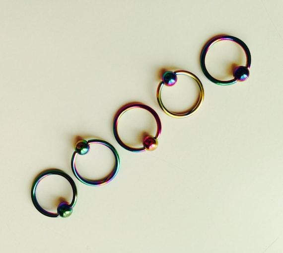 Ball Closure | BCR | Ring | Rainbow | Multi Coloured | Septum | Ear | Piercing | Body Jewellery