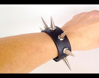 Genuine Leather Cuff Spiked Bracelet  - Black leather with X Large 24 mm Spikes