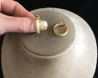 Vintage Off White Enameled Clip On Hoop Earrings