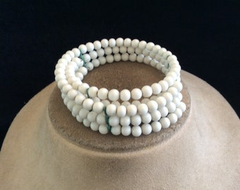 Vintage Milk Glass Beaded Wrap Style Choker Necklace