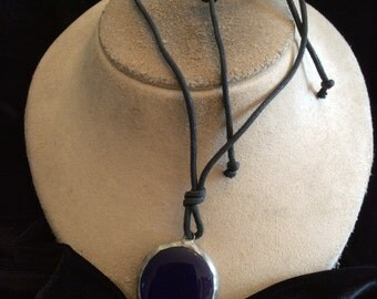 Vintage Deep Blue Stained Glass Pendant Necklace