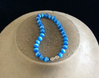 Vintage Shades Of Blue Glass Beaded Bracelet