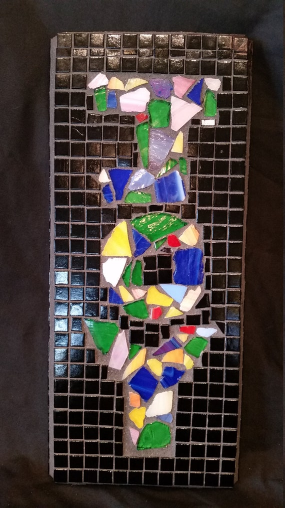 Colored Glass Wall Decor : Holiday decor mosaic wall hanging joy in multi colored stained