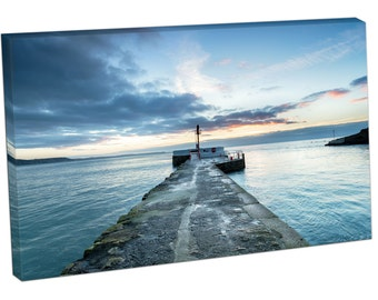 SE26132 Print On Canvas Dramatic sunrise Pier at Looe south coast Cornwell ART