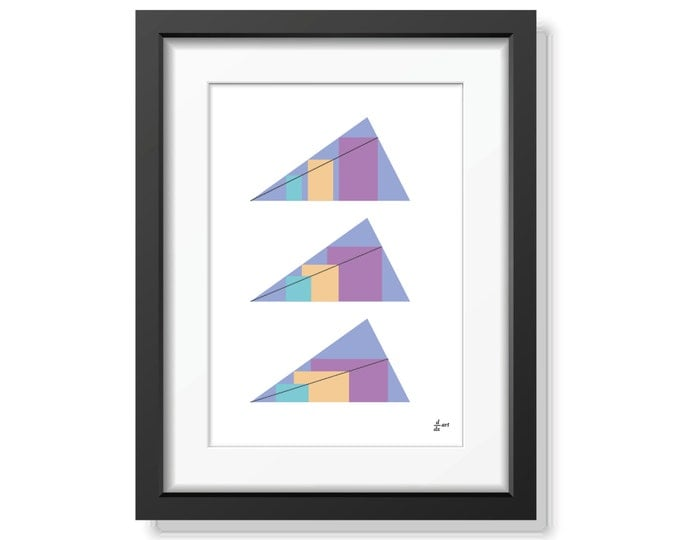 Rectangles in Triangles 05 [mathematical abstract art print, unframed] A4/A3 sizes