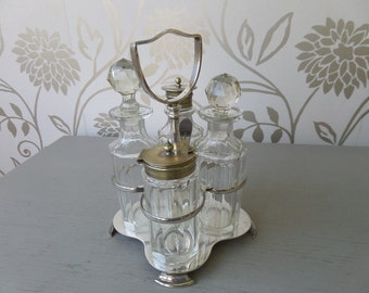 Cruet Set, Silver Plated, Early Victorian (1832- 1840) Thomas Wilkinson & Son, Cut Glass Bottles, Crystal Stoppers, Excellent Condition