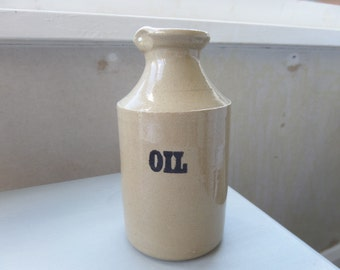 "Pearsons of Chesterfield, Stoneware Oil Bottle, Jug or Cannister, 5.5"" x 3"", Immaculate Condition, Mid Century Circa 1970"