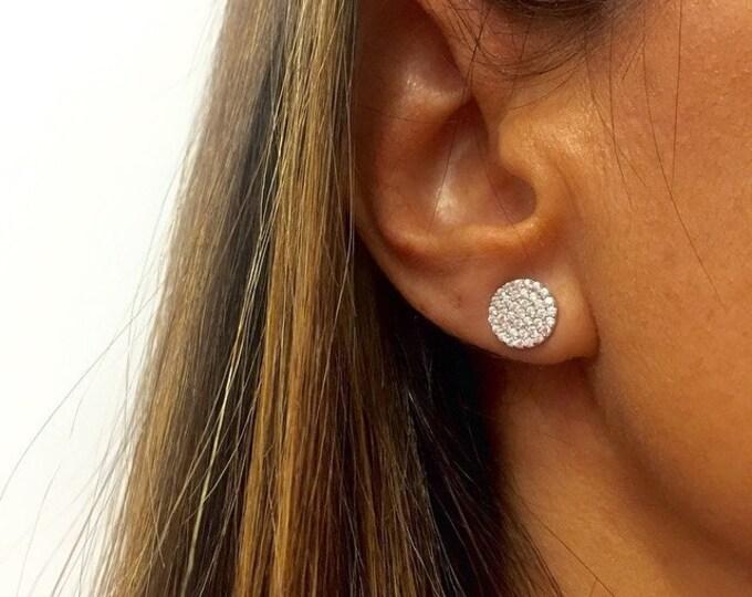 Disc Earrings CZ Earrings Cubic Zirconia Sterling Silver Crystal Earrings Rhinestone Earrings Silver Disc Minimalist Earrings Circle Earring