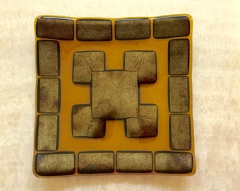Square Amber Fused Glass Plate with Gold Metallic Geometric Pattern