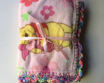 Crochet Trim Cuddle Soft Disney Winnie the Pooh Baby Girl Blanket- Winnie the Pooh & Piglet with Free Baby Shoes