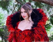 "Red and Black Feather Velvet Fantasy Cape, Feather capelet with high collar, ""Scarlett""."