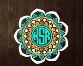 3 colors Mandala Monogram frame  SVG file.  1 SVG  digital graphic, 1 PNG 300dpi  instant download. Printable. Id#MM5
