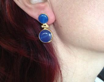 Earring, Gemstone Earring, Blue Earring, Double Stone Earring, Gold Filled Earring, Handmade Earring, Gift  for  Her,