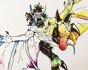 """Rainbow Stoneskin Gargoyle Cardstock Print 8.5"""" x 11"""""""