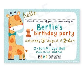 1st Birthday party invitation, printable invitation, digital invitation, personalised invitation,