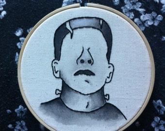 Frankenstein's Monster Embroidery Hoop