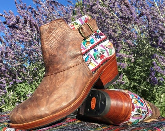 Handcrafted leather booties with Guatemalan huipil