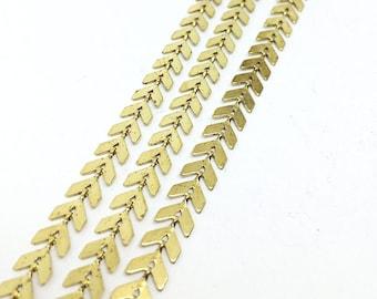 5 Yards Raw Brass Chevron Chain Fish Bone Findings Supplies 6x6.5mm