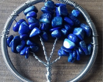 Tree of Life Lapis Lazuli Pendant Necklace Natural Gemstone Tumbled Wire Wrapped Bodhi Tree Ascension888 Kemet Egypt Spirit Wisdom Royalty